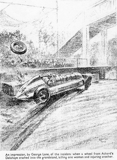 Autocar artist's impression of Jean Achard's accident in the 1947 Albi GP