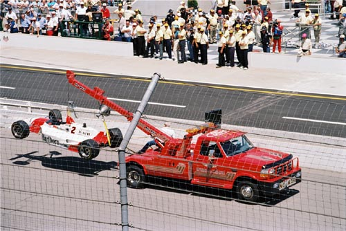 Fittipaldi, crashed car, 1994 Indy 500