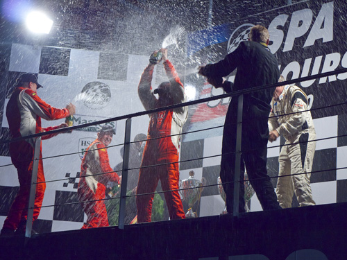 Martin Stretton in stratospheric mood on the Six Hours podium